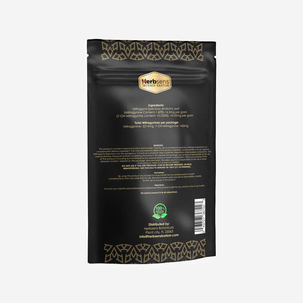 Back of Kratom red vein Bali powder 5oz