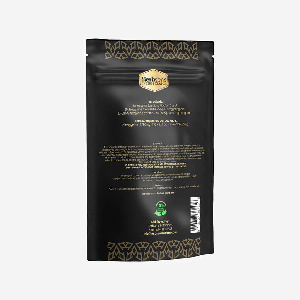 Back of Kratom Train wreck powder 10oz