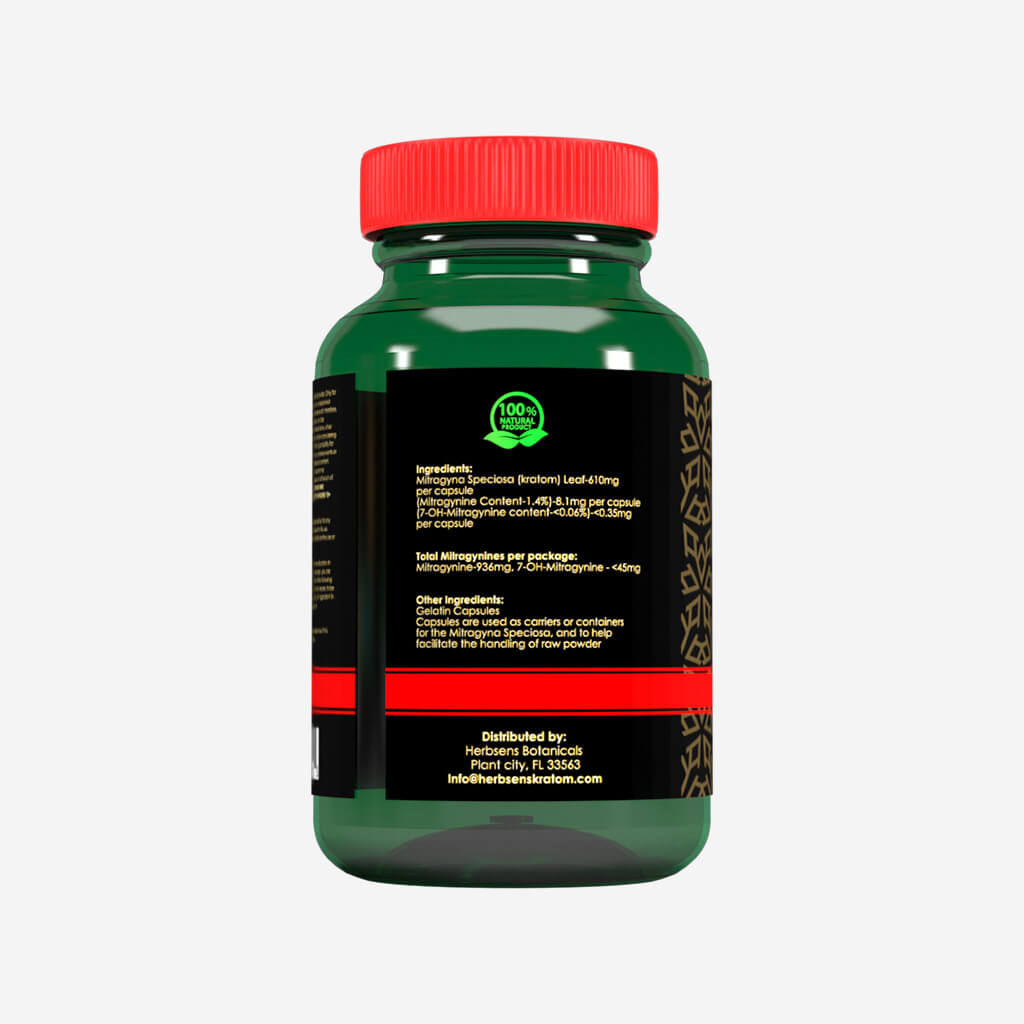 Back of Kratom Red Maeng da capsules 150ct