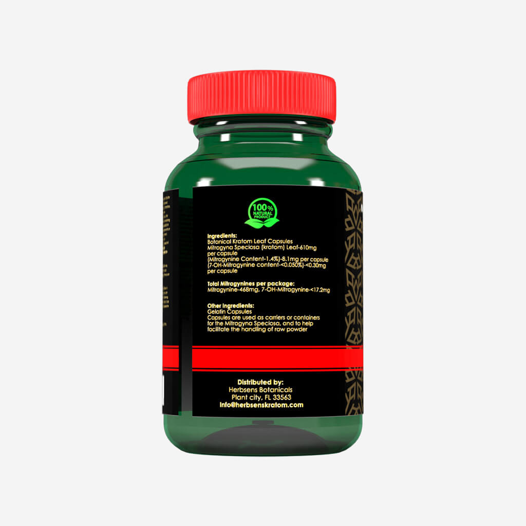 Back view Kratom Red Maeng da capsules 75ct